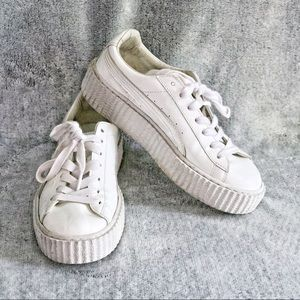FENTY PUMA 7.5 White Patent Creeper Sneaker Shoes